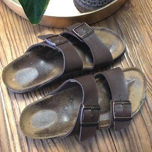 Birkenstock brown leather sandals size 38